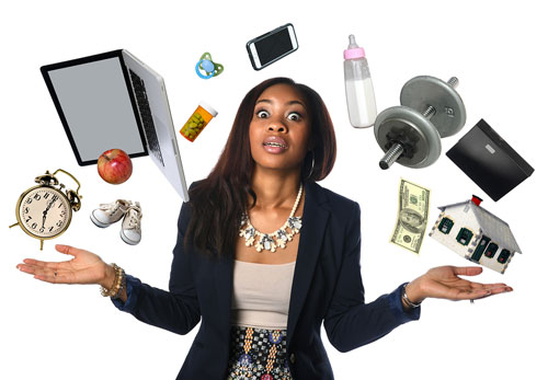 Woman blogger overwhelmed with juggling so many aspect of her business
